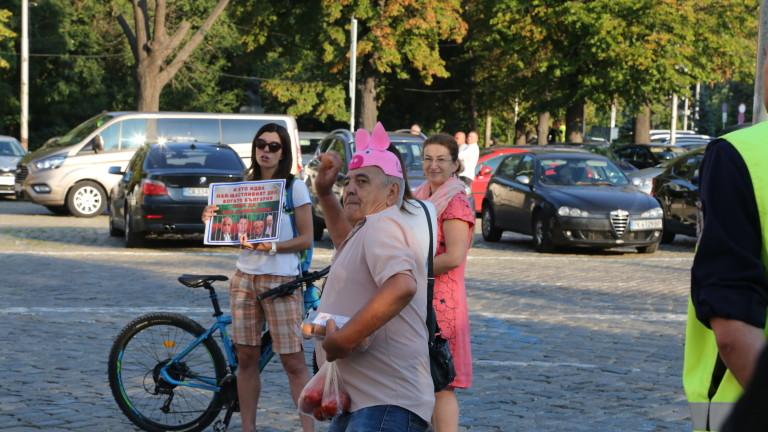 Около 20 души, развяващи българското и европейското знаме, се събраха