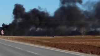 "Пожар пречи на видимостта при 46 км на АМ ""Тракия"""