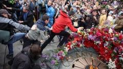 Арестуваха двама в Киев, опитали да разгърнат банер с Георгиевски лентички