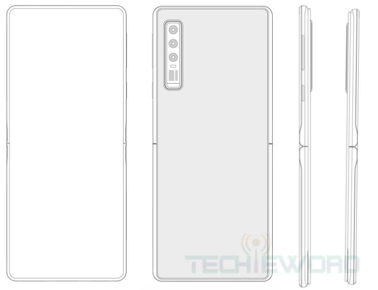 Патентни рисунки за сгъваем смартфон на Huawei