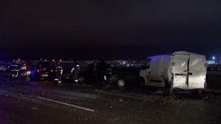 """Маршрутка и две коли във верижна катастрофа на """"Цариградско"""""""
