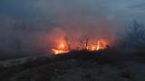 Пожар около складовете на зеленчуковата борса край Първенец