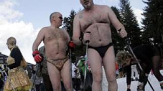Голи англичани карат ски на Боровец