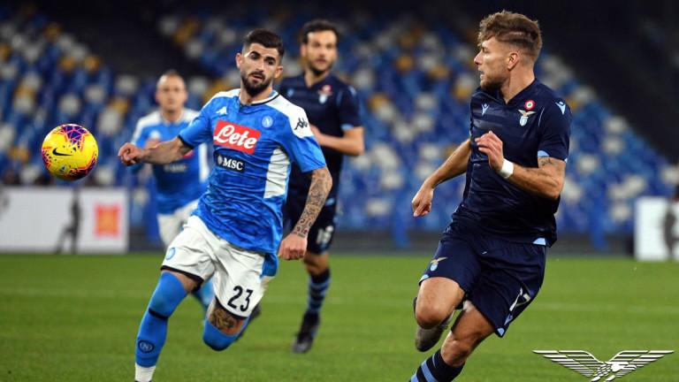 Наполи - Лацио 1:0, по един червен картон и за двата отбора