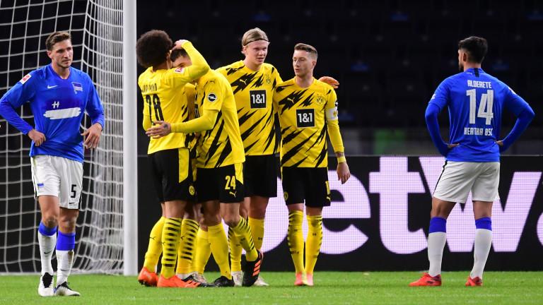 Четири гола на Ерлинг Халанд и обрат за Борусия (Дортмунд) срещу Херта
